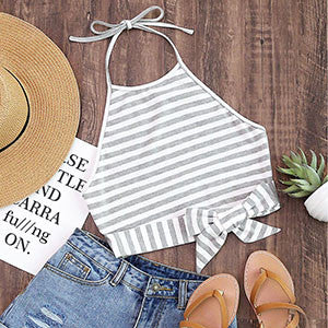 Striped Front Bow Summer Tank Top