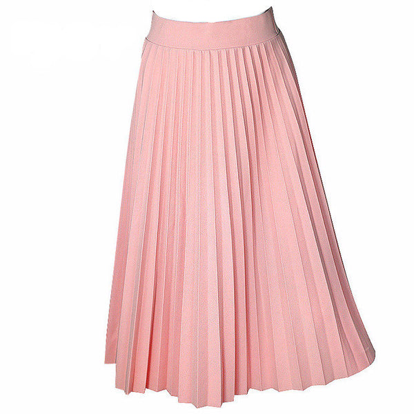 High Waist Pleated Long Skirt