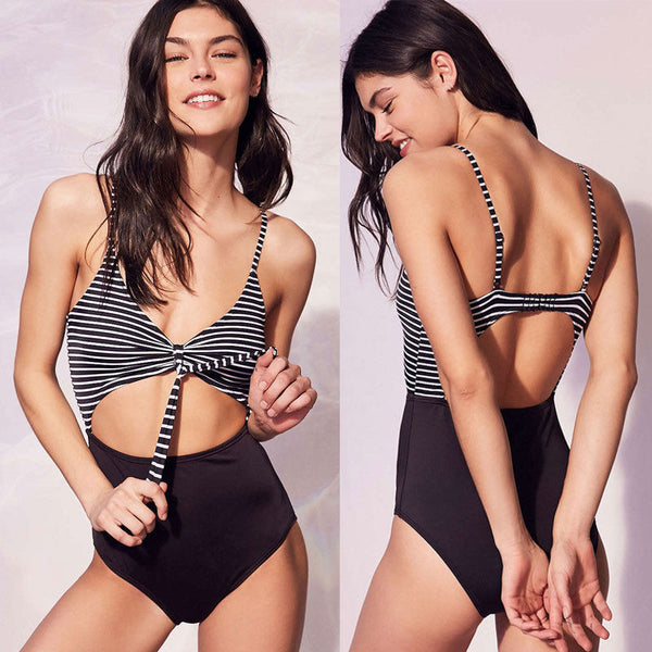 Backless Front Bow Striped Swimsuit