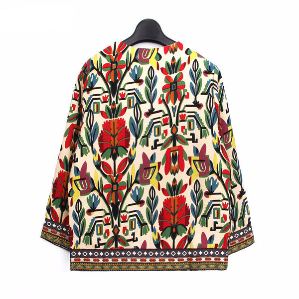 Ethnic Embroidery Floral Print Jacket