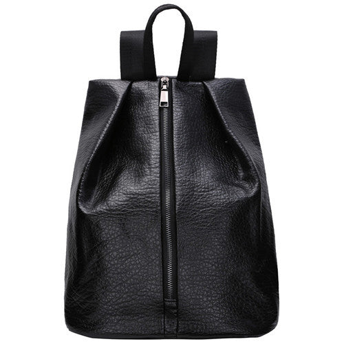 Black Casual Front Zip Backpack