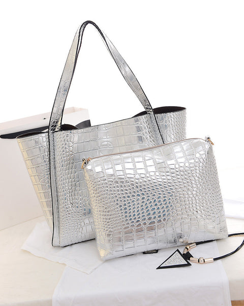 Silver Gold Metal Shoulder Bag Set