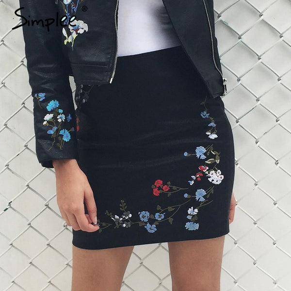 Embroidery Faux Leather Skirt