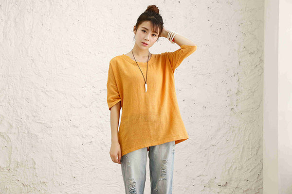 Cotton Linen Loose Plus T-shirt