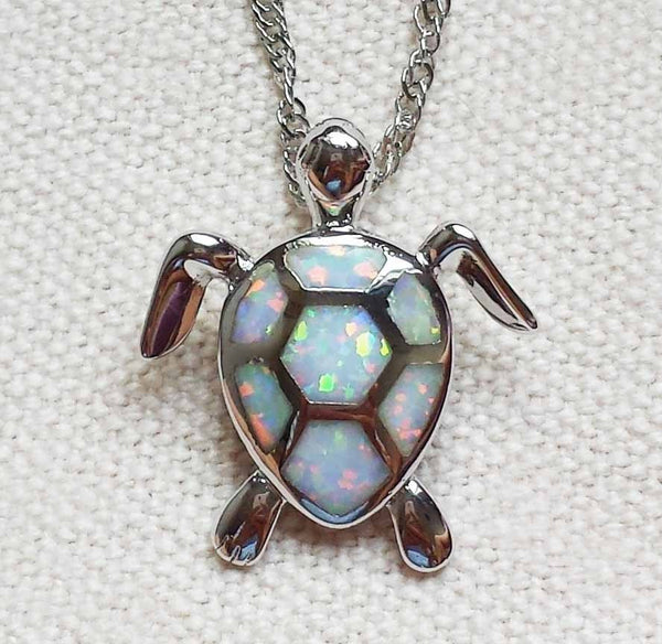 Opal Stone Sea Turtle NEcklace
