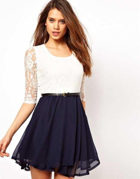 Cute Lace Design Stitching Pleated Dress