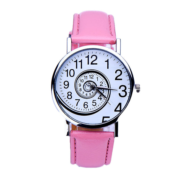 Quirky Leather Swirl Face Pattern Quartz Wrist Watch