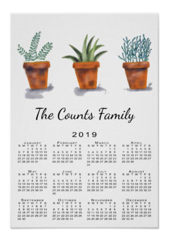 Calendar Poster Garden Pots - Blushing Willow Design Co.