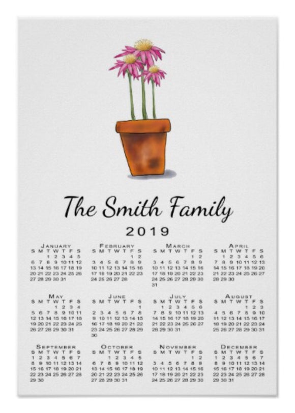 Calendar Poster Pink Flowers - Blushing Willow Design Co.
