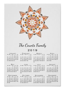 Calendar, Poster Mandala Drawing - Blushing Willow Design Co.