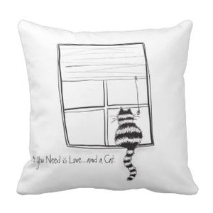 Pillow, All You Need is Love...and a Cat - Blushing Willow Design Co.