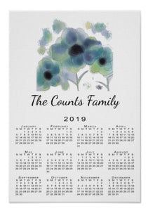 Calendar Poster Blue Flowers - Blushing Willow Design Co.