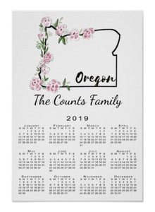 Calendar Poster Oregon - Blushing Willow Design Co.