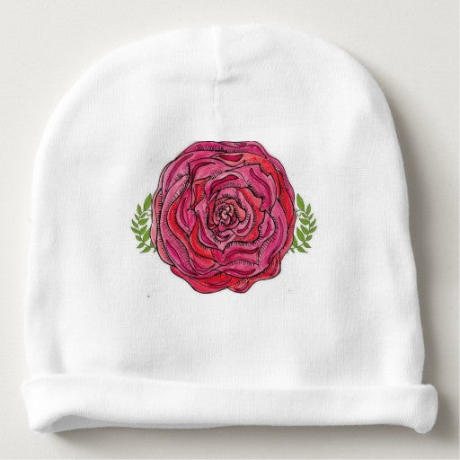 Baby Beanie with Rose Design - Blushing Willow Design Co.