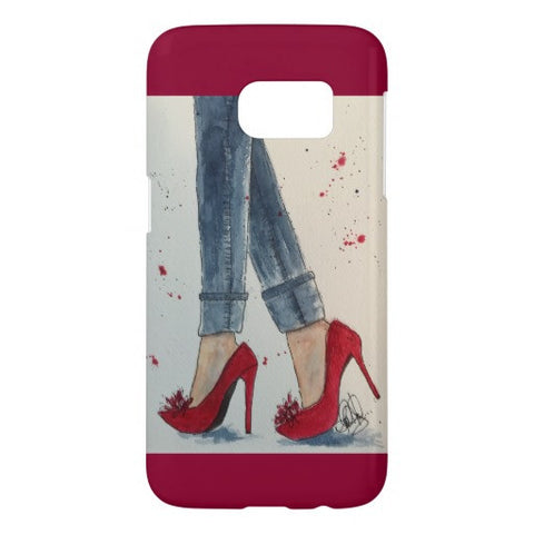 "Cell Phone Case, Samsung Galaxy S4, S5, S6, or S7 ""Ruby Reds"" Design - Blushing Willow Design Co."