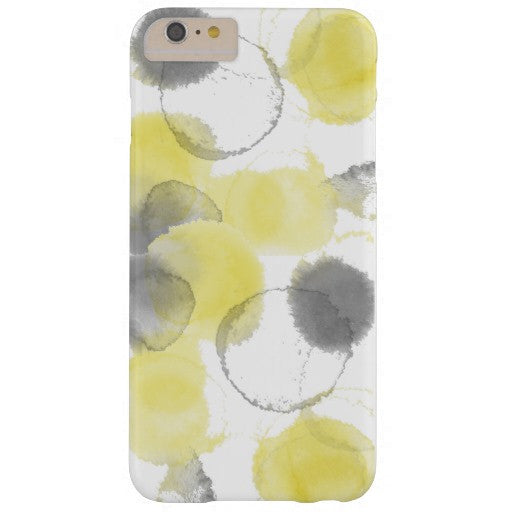 Cell Phone Case, iPhone 6/6s Plus, Watercolor Splash, Lemon & Coal - Blushing Willow Design Co.
