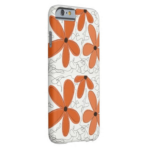 "Cell Phone Case, iPhone 6/6s Plus, ""Orange Flowers & Scribbles"" Design - Blushing Willow Design Co."