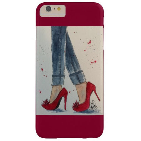 "Cell Phone Case, iPhone 6/6s Plus, ""Ruby Reds and Denim"" Design - Blushing Willow Design Co."