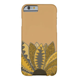 Cell Phone Case, iPhone 6/6s Plus, Gold Whimsy Sunflower Design - Blushing Willow Design Co.