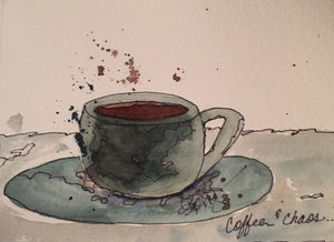 "Watercolor, Limited-Edition, Signed, Matted Prints, ""Coffee & Chaos"" - Blushing Willow Design Co."