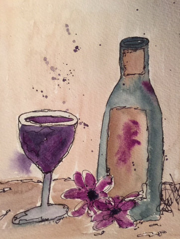 "Watercolor, Limited-Edition, Signed, Matted Prints, ""Wine & Wisteria"" - Blushing Willow Design Co."