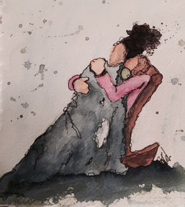 "Watercolor, Limited-Edition, Signed, Matted Prints, ""Snuggles"" - Blushing Willow Design Co."