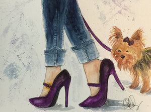"Watercolor, Limited-Edition, Signed, Matted Prints, ""Yorkie & Stilettos"" - Blushing Willow Design Co."