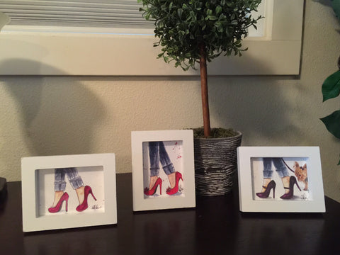 "Watercolor, Tiny Trio Framed Prints, ""Denim & Heels"" - Blushing Willow Design Co."