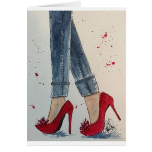 "Notecards, Ruby Reds & Denim Watercolor with ""Wat Shoe Up To?"" inside - Blushing Willow Design Co."