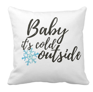 "Pillow, ""Baby It's Cold Outside"" Snowflake Design - Blushing Willow Design Co."