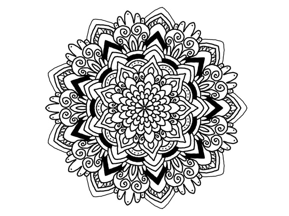 Digital Print Download Art, Mandala 0776 Coloring Page Design - Blushing Willow Design Co.