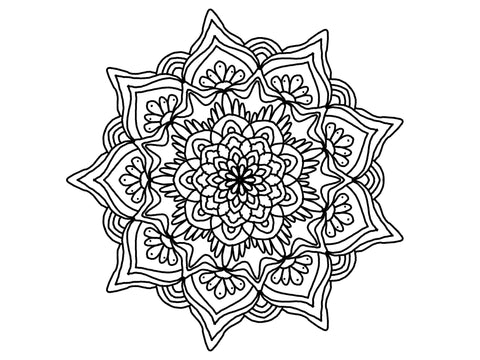 Digital Print Download Art, Mandala 0777 Coloring Page Design - Blushing Willow Design Co.