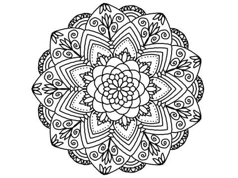 Digital Print Download Art, Mandala 0780 Coloring Page Design - Blushing Willow Design Co.