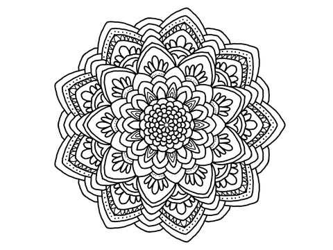 Digital Print Download Art, Mandala 0781 Coloring Page Design - Blushing Willow Design Co.