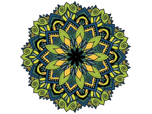 Digital Print Download Art, Mandala in Greens & Blues Design - Blushing Willow Design Co.
