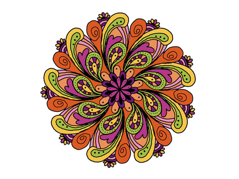 Digital Print Download Art, Mandala in the 70's Design - Blushing Willow Design Co.