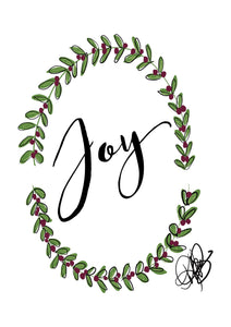 "Digital Printable Art, ""Joy"" with Greenery Design - Blushing Willow Design Co."