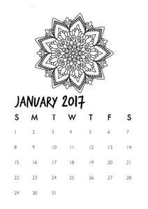 Digital Printable 2017 Mandala Coloring Page Calendar 12-Month - Blushing Willow Design Co.