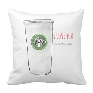 "Pillow, ""I Love You More Than Coffee"" Design - Blushing Willow Design Co."