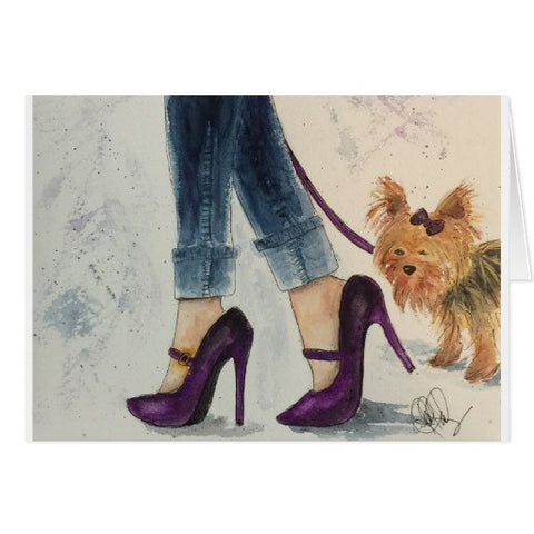 Notecards,  Yorkies & Stilettos Watercolor Design, Blank - Blushing Willow Design Co.