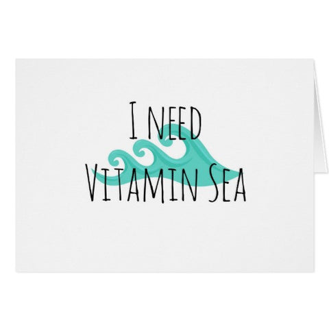 "Notecards, ""I Need Vitamin Sea"" Design - Blushing Willow Design Co."