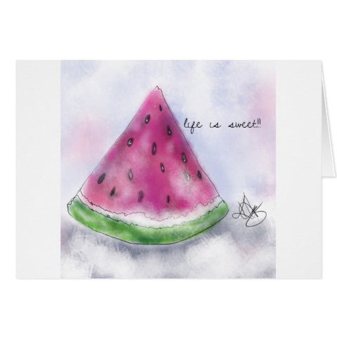 "Notecards, ""Life is Sweet"" Watermelon Design - Blushing Willow Design Co."