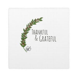 Plaque with Easel, Thankful & Grateful Design - Blushing Willow Design Co.