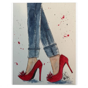 "Plaque with Easel, Watercolor ""Ruby Reds & Denim"" Design - Blushing Willow Design Co."