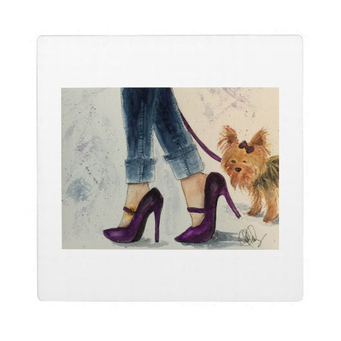 "Plaque with Easel, Watercolor ""Yorkie & Stilettos"" Design - Blushing Willow Design Co."