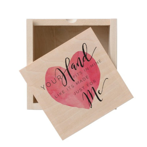 "Wooden Box, Heart ""Your Hand Fits in Mine..."" - Blushing Willow Design Co."