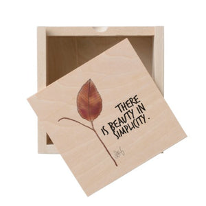 "Wooden Box, Leaf ""There is Beauty in Simplicity"" Quote Design - Blushing Willow Design Co."