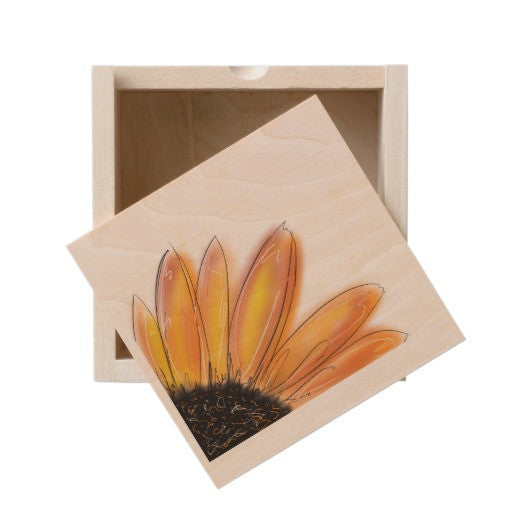 Wooden Box, Yellow Sunflower Design - Blushing Willow Design Co.