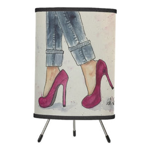 Lamp, Denim & Heels Watercolor Design - Blushing Willow Design Co.