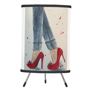 Lamp, Ruby Reds & Denim, Watercolor Design - Blushing Willow Design Co.